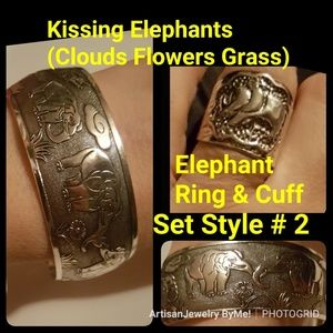 KissingElephantCuff+RingFlowersCloudsStyle #2
